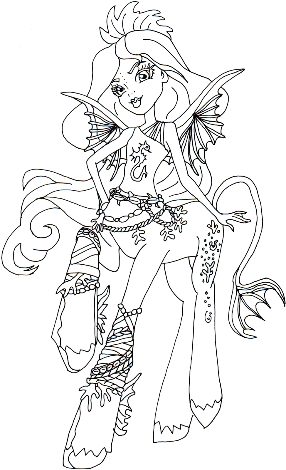 free printable monster high coloring pages bay tidechaser monster