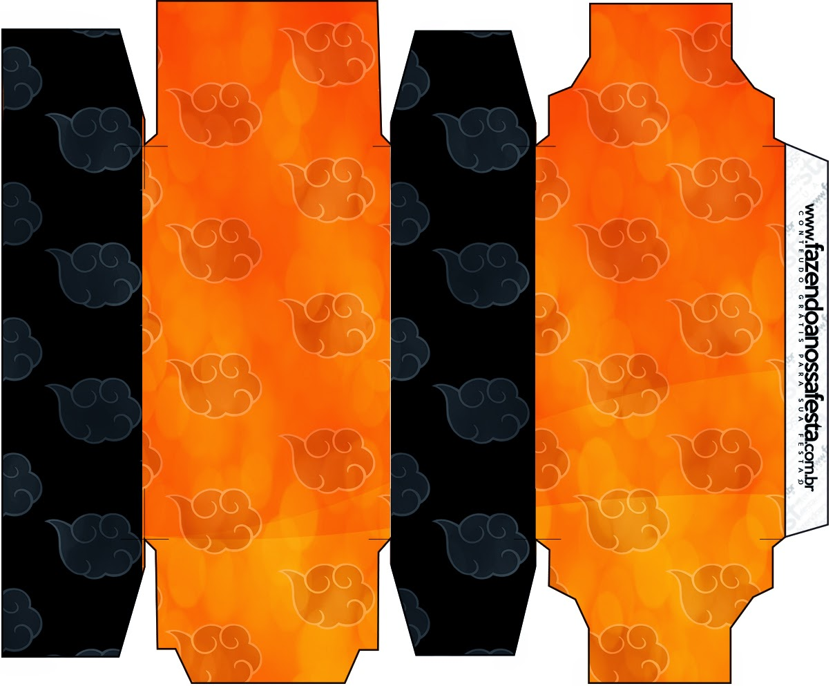 Cajas para imprimir gratis de Naranja y Negro con Nubes.
