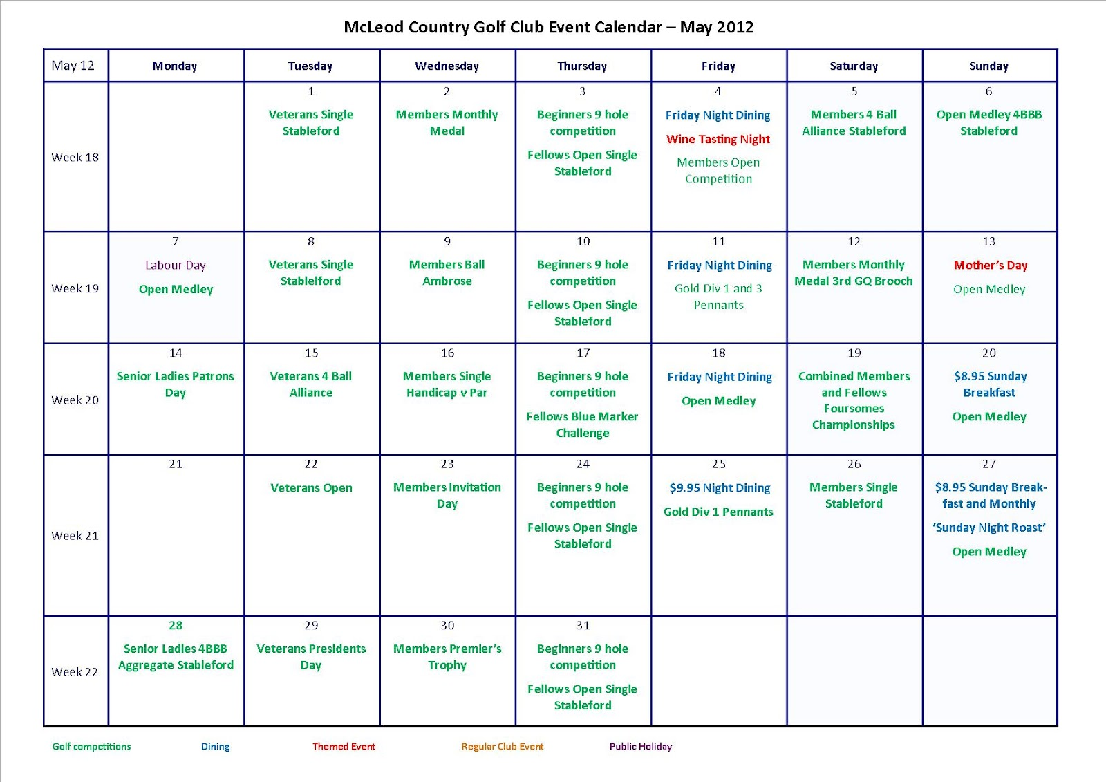 Calendar May Events : Mcleod country golf club may calendar of events at
