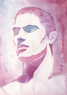 Kerry Degman by Kai Karenin, unpublished portrait, watercolors on paper