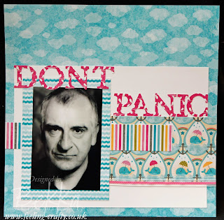 Sunshine and Sprinkles 'Don't Panic' scrapbook page about Douglas Adams by UK bases Stampin' Up! Demonstrator Bekka Prideaux