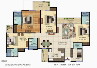 Amrapali Verona Heights :: Floor Plans 4 BHK + 5T + Servant Room
