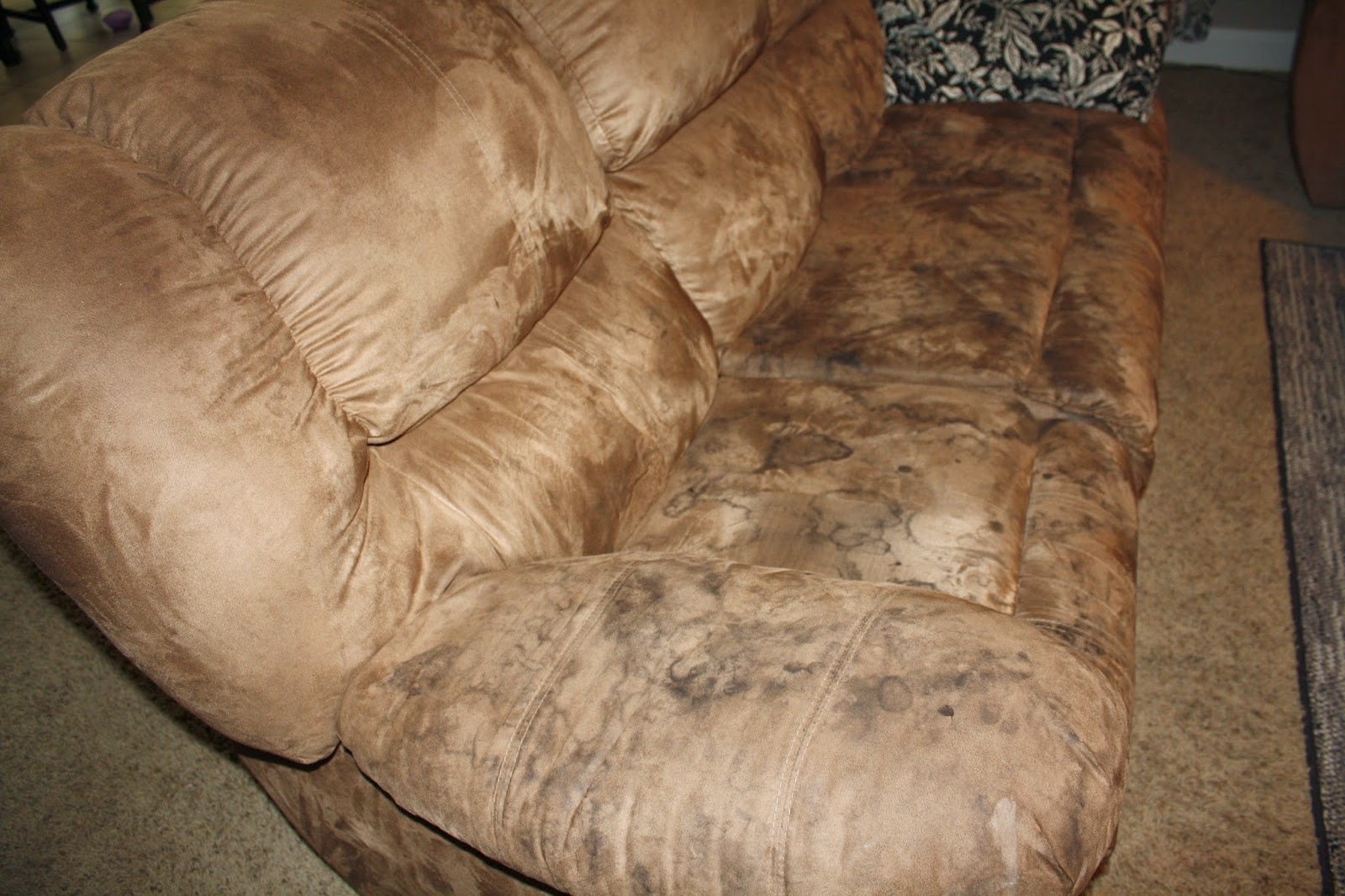 how to clean microfiber couches and get the water spots out too