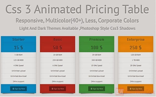 Animated Pricing Table with Colourfull for Boostrap