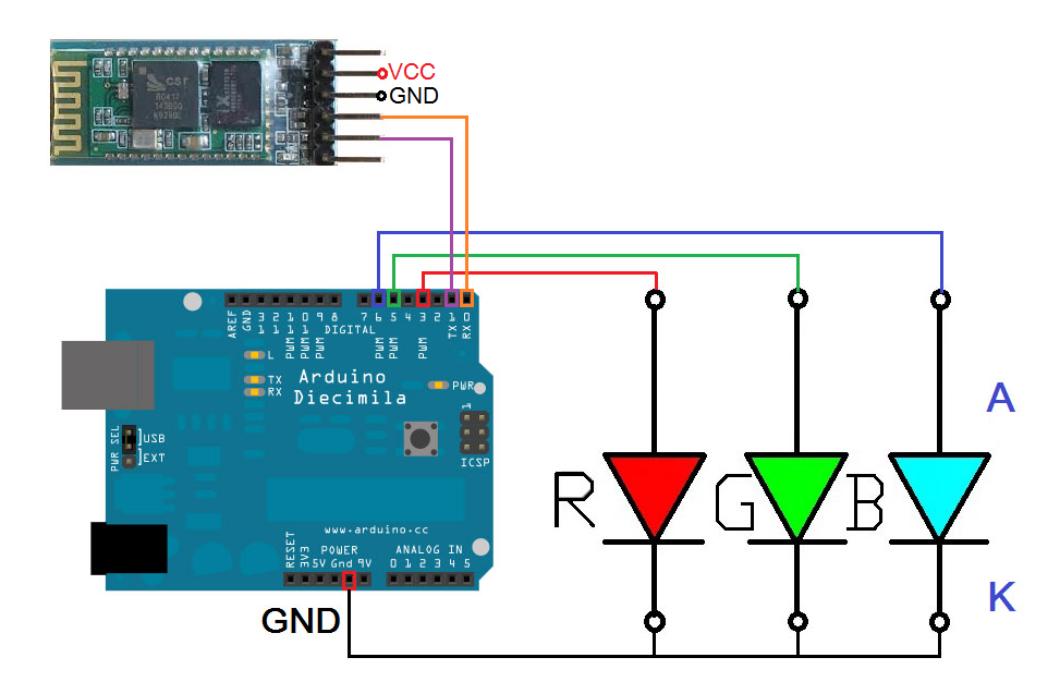 Android Arduino ควบคุม RGB LEDs ผ่าน Bluetooth