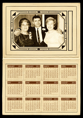 sample of a vintage art-deco calendar showing old photo in the frame