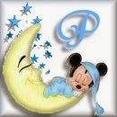 Alfabeto de Mickey Bebé durmiendo en la luna P.