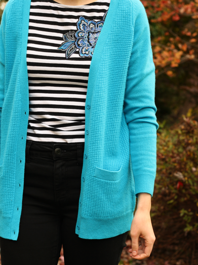 stripes with bright cardigan