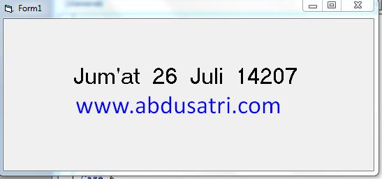 tutorial konversi hari dan tanggal ke format bahasa indonesia pada visual basic