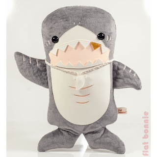 Flat Shark plush stuffed animal by Flat Bonnie - hello