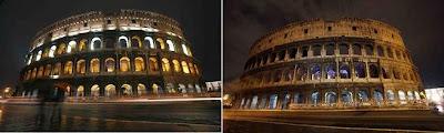 o Coliseu (Roma, Itália), durante a Hora do Planeta