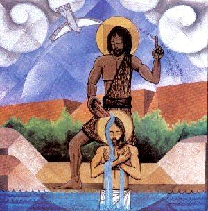 Jesús en pleno bautizo y en presencia del Espiritu Santo