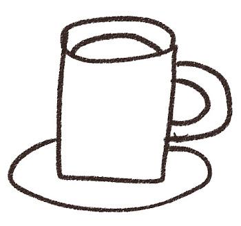 ココアのイラスト(カフェ)線画