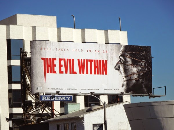 Evil Within barbed wire face billboard