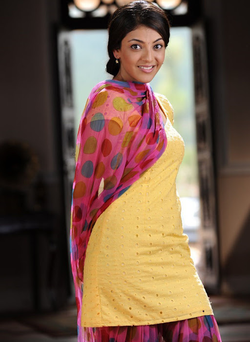 Kajal Agarwal in Yellow colour Patiala Dress, Telugu Girl in Patiala Dress pics