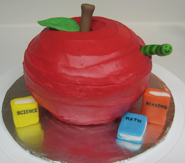 Teacher's Apple Cake with Books and Worm