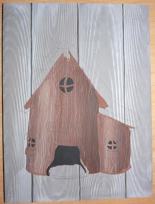 Maison,Bois,Gnome,Peinture