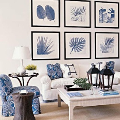 Chic home idea nautical style living room in white and blue for Coastal inspired decor