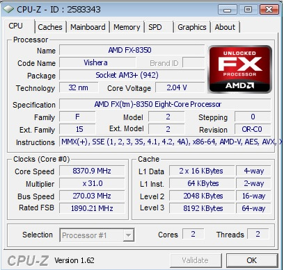 AMD FX-8350 Overclocked CPU-Z