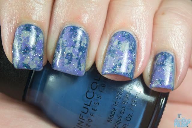 nails, nail art, nail polish, tri-polish challenge, china glaze fairy dust, splotches, blue, purple, grey