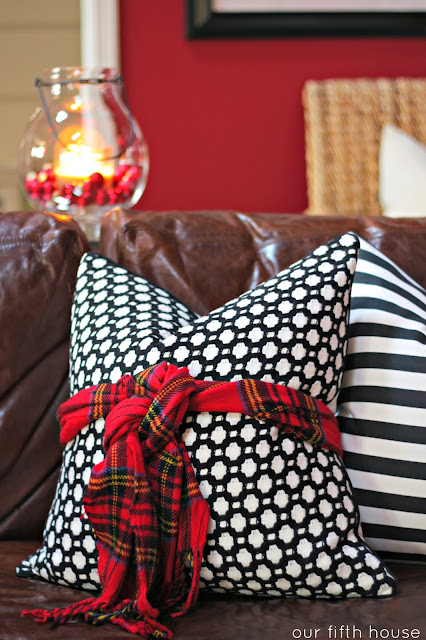holiday decor tip: scarf tied on a pillow