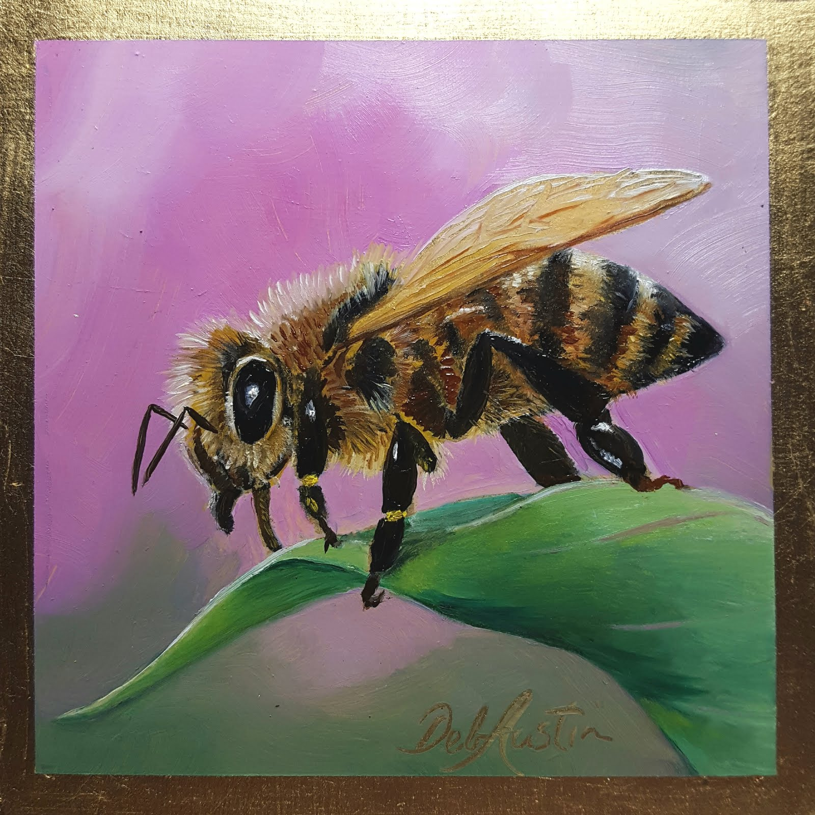 "Honeybee on Leaf (oil on gold leaf, 5"" sq)"