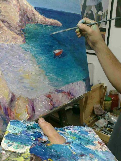 pintura oleo del mar