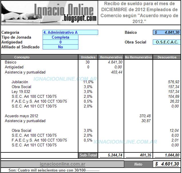 Empleados De Comercio Liquidaci N Sueldo Diciembre 2012