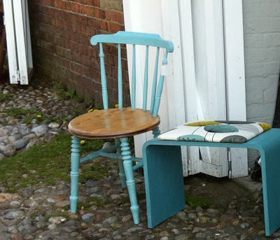 half painted vintage chair turquoise