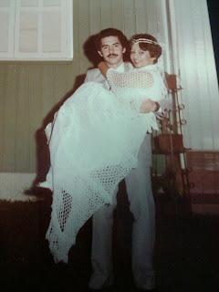 Vestido de casamento em Crochê usado pela Mãe da Vanessa em 1982