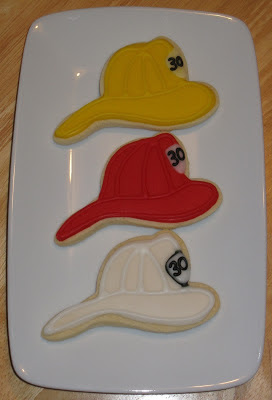 fireman, firemen, hydrant, fire station department, dalmation, decorated cookies, royal glaze icing, maltese cross, crest, thank you