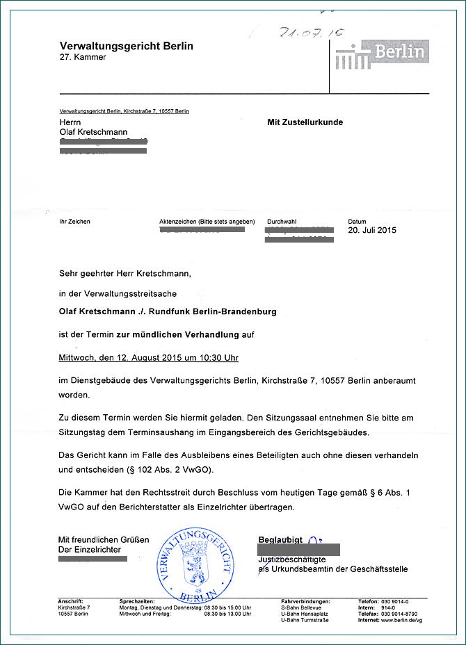 Briefe Schreiben Französisch : Olaf kretschmann vs rundfunkbeitragspflicht der info