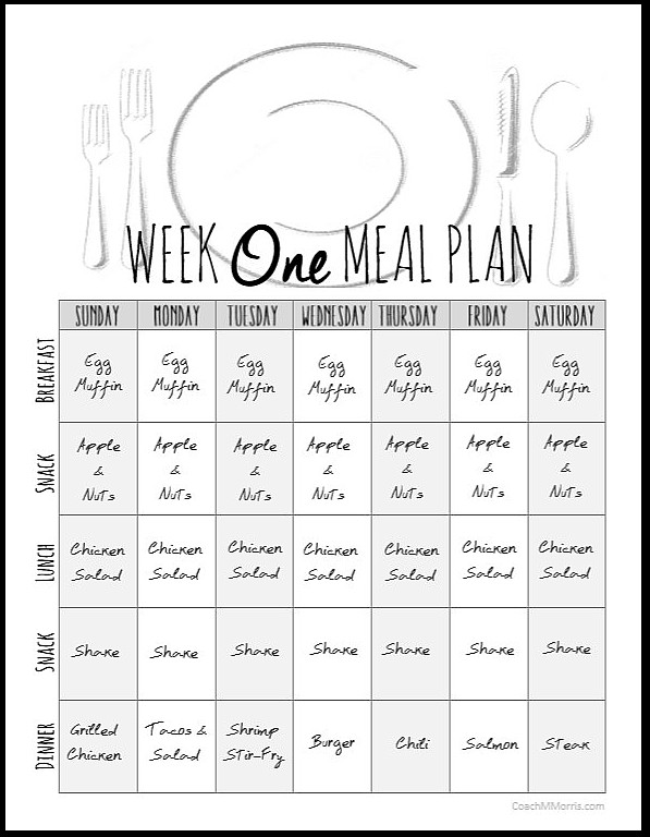 Weekly Meal Plan   To Insanity  Back