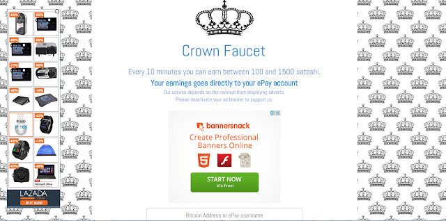 Crown Faucet get upto 15,000 satoshis every 10 minutes, get free ...
