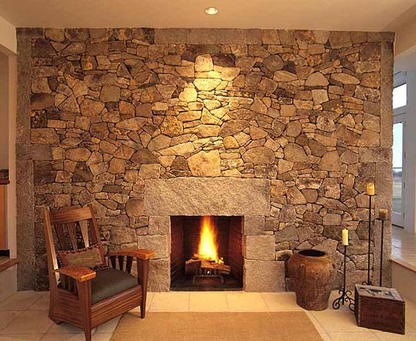 Salas con chimenea ideas para decorar dise ar y mejorar - Chimeneas de piedra ...