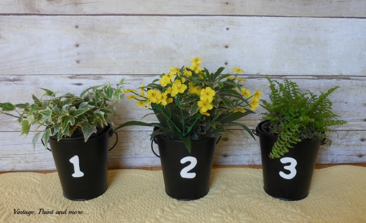 Vintage, Paint and more... plain tin buckets made trendy with painted stenciled numbers and little plants
