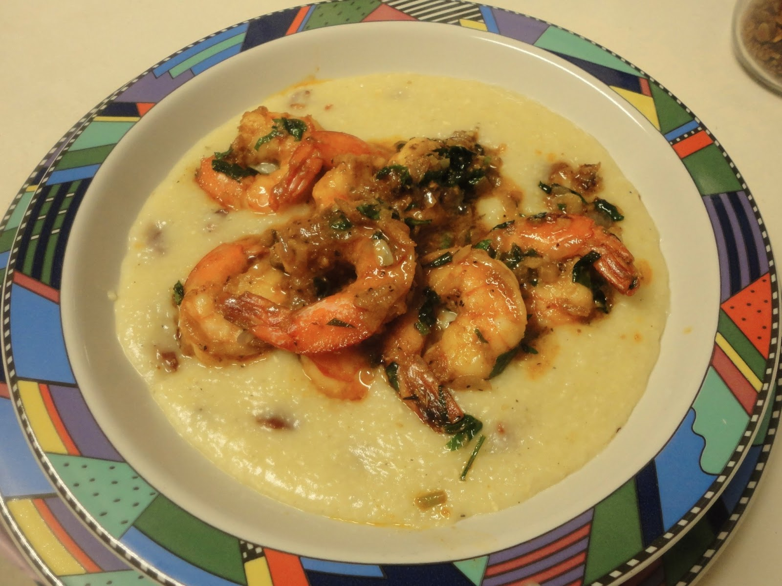Shrimp & Spicy Cheddar Grits Recipe — Dishmaps