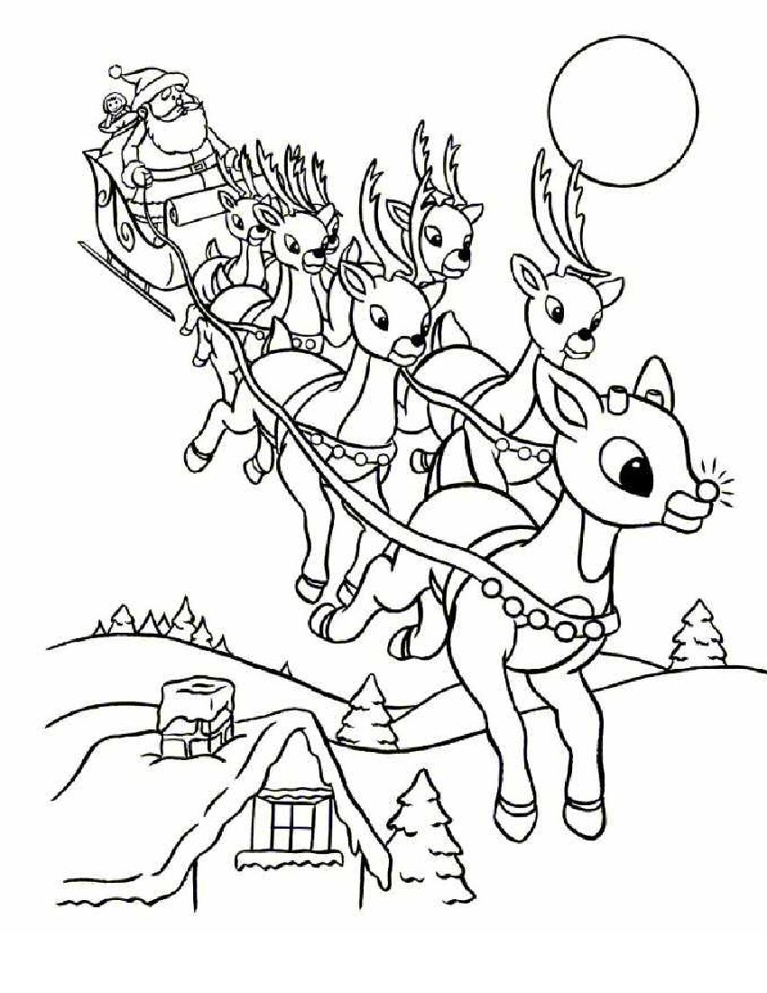 13 Christmas Reindeer Coloring