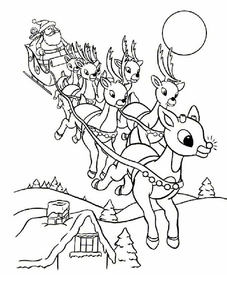 Christmas Santa and Reindeer Coloring Pages