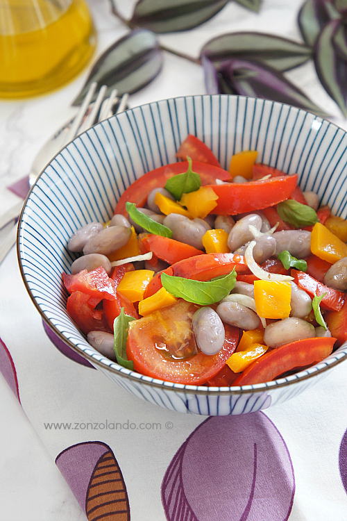 Insalata estiva pomodori fagioli peperoni facile veloce buona saporita - Summer easy veggie tomato salad recipe