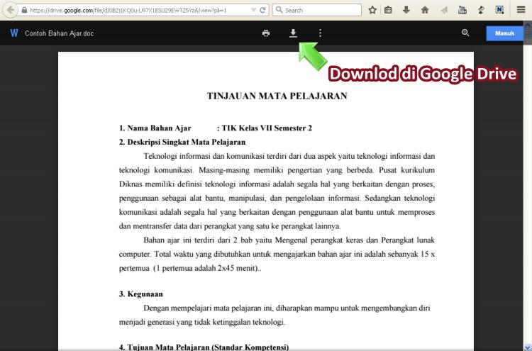 Download Contoh Bahan Ajar di Google Drive