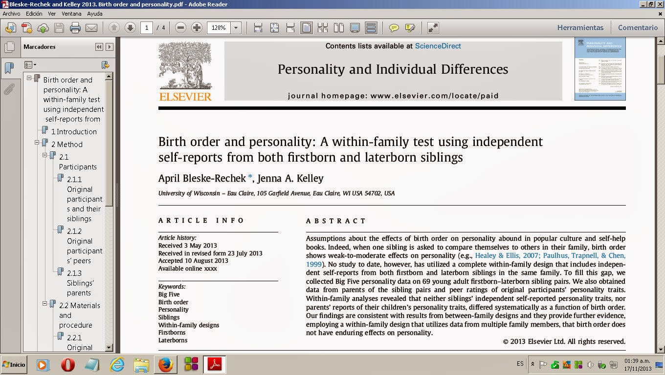 Research papers birth order and personality