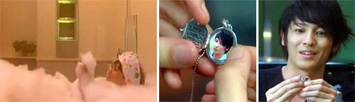 Nodame taking a bubble bath / Chiaki opens the locket with his photo inside and makes a face
