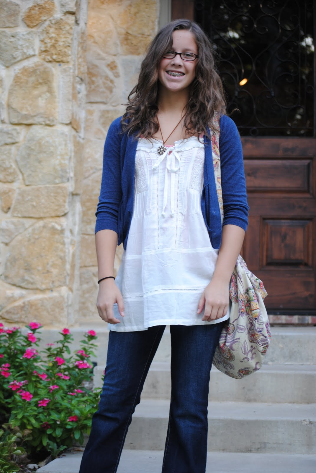 Emily- first day of 8th grade...cutie patootie!