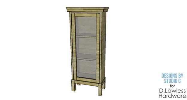 The d lawless hardware blog diy plans to build a narrow for Diy glass cabinet doors