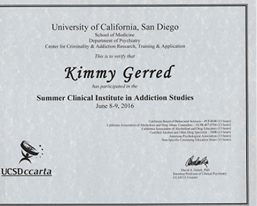 UCSD Certification with 13 CEU's