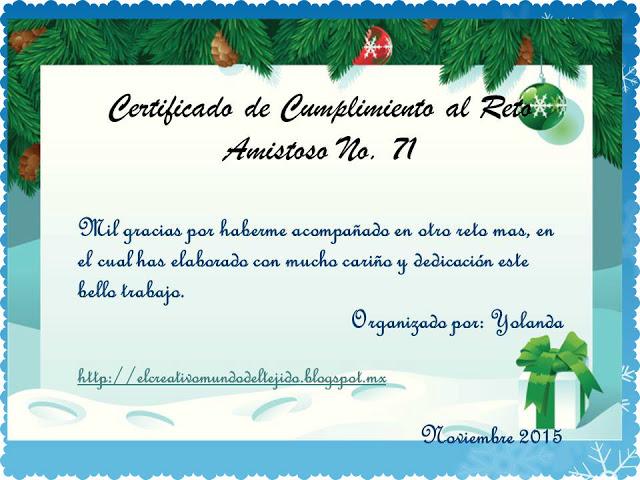 Certificado Reto nº 71