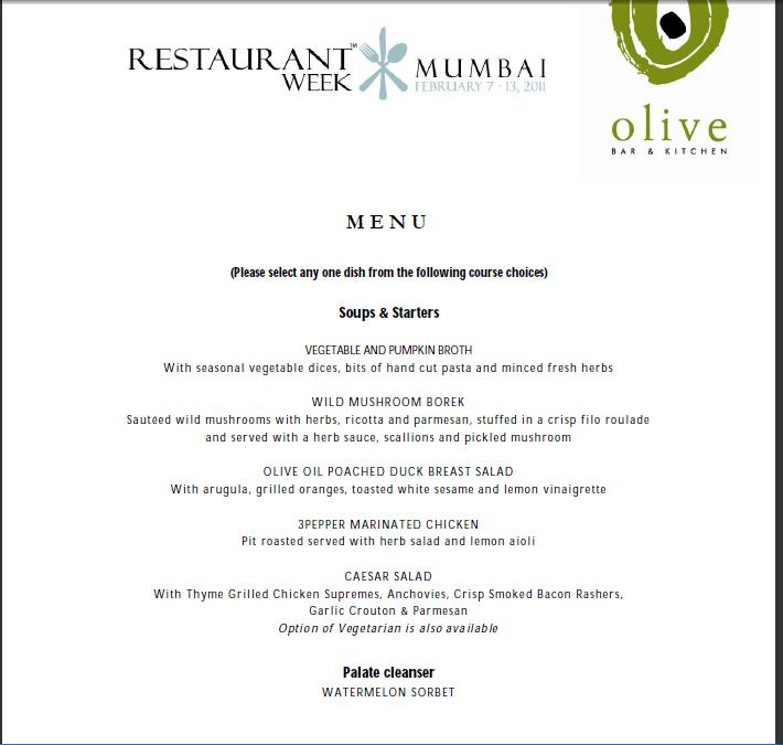 SQUARE WITH ROUND EDGES Restaurant Week OLIVE BAR AND KITCHEN