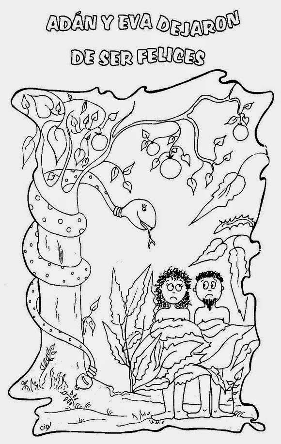 Magnífico Adán Y Eva Para Colorear Páginas Para Niños Pequeños ...