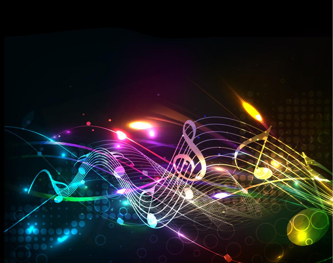 虹色に光る音符の背景 Beautiful notes lines vector background イラスト素材